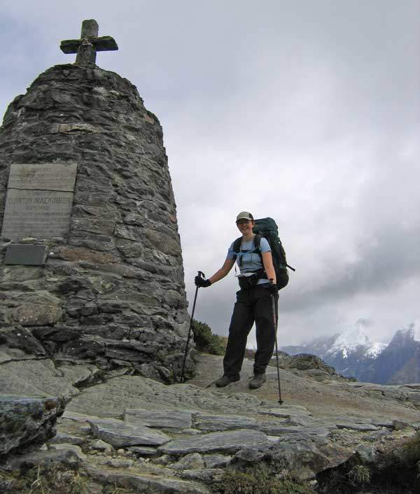 The cairn at the top of Mackinnon Pass. (Who carried those rocks up there???)